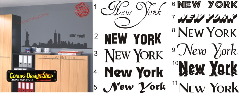 new york skyline wandtattoo 90x22cm n1 wandtatoo aufkleber silhouette ebay. Black Bedroom Furniture Sets. Home Design Ideas